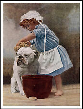 ENGLISH BULLDOG LITTLE GIRL BATHING DOG LOVELY VINTAGE STYLE DOG PRINT POSTER