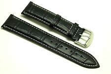 22mm Black/White Leather Alligator Replacement Watch Strap - Fossil Traveler 22