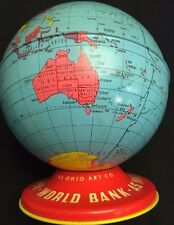 Vintage World Globe Coin Bank made in the USA by Ohio Art Company