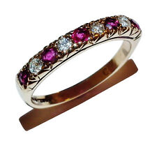 Fully Hallmarked 9ct Yellow Gold, Ruby & Diamond 1/2 Eternity Ring-UK Size:M1/2
