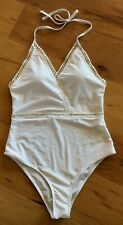 Cupshe White One-piece Halter Swimsuit Size L NWT