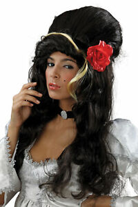 Amy Winehouse Beehive Wig With Red Rose Fancy Dress Costume Accessory