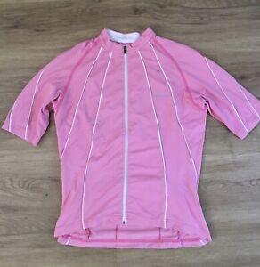 Women's GORE bike wear short sleeve jersey full zip UK size 10 in pink and white