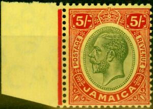 Jamaica 1919 5s Green & Red-Yellow SG67 Very Fine MNH