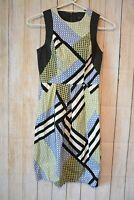 Cue In The City Dress Size 6 Small Green Blue White Black Sleeveless Exposed Zip