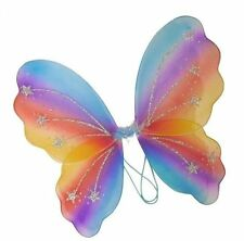 Rainbow Glitter Butterfly Fairy Wings Fancy Dress Dressing Up Ladies Girls Party