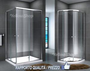 BOX DOCCIA ANGOLARE CABINA CRISTALLO 6 MM RETTANGOLARE CURVO 70 80 90 100 120