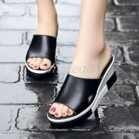 Korean Womens Platform High Wedge Heel Sandals SHoes Slides Mules Slippers New