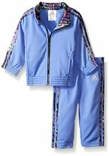 NWT Adidas Baby Girls 12M Tricot Zip Track Suit Jacket Pant Set Neon Blue w Pink