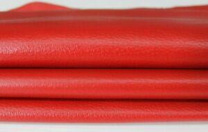PEBBLE GRAINY FERRARI RED Lambskin Lamb Sheep leather skins 7sqf 0.6mm #A6662