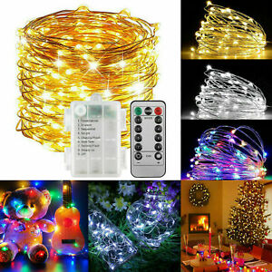 10M LED String Fairy Lights Battery Outdoor Indoor Christmas With Remote Timer