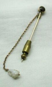 Antique 9 carat Gold Almandine Garnet Stick / Tie Pin With Natural Pearl Dropper