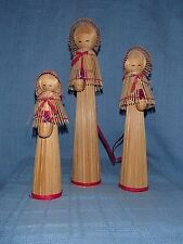 3 Wicker Wood Women, Girl Figures Holding Flower Baskets