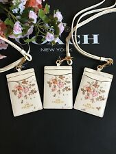 NEW COACH 91792 CHALK WHITE BOHEMIAN FLOWERS  Lanyard ID BADGE Holder NWT $68