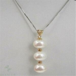 9-10mm White Pearl Pendant Necklace 14k Retro Charm Luxury Noble Classic