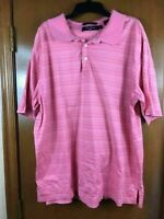 Men's Alan Flusser Golf Short Sleeve Polo Pink Striped Large L Egyptian Cotton