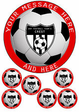 "ANY FOOTBALL TEAM CAKE TOPPER FOOTBALL,CREST,A4 ICING SHEET 7.5""ROUND&6 TOPPERS"