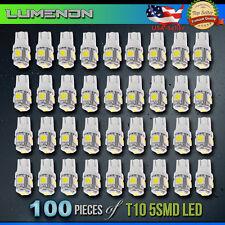 100 x T10 Wedge 5-SMD 6000k White 5050 LED Light bulbs 2825 158 192 168 194 6k