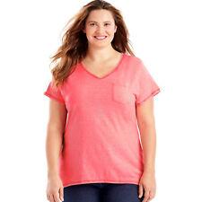cab939edaed Just My Size Women s Short Sleeve X-temp Pocket Tee Neon Pink Pop Heather 4x