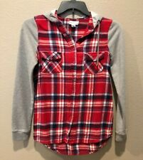 Full Tilt Junior's Gray/Red Plaid Long Sleeve Button Front Hoodie Top Size M