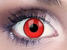Lentille de Contact Couleur Rouge Vampire /Red Out / Halloween / Crazy / 1 an