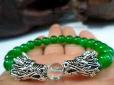 8mm Green Jade Bead Lucky Silver Chinese Dragon Charm Men Bracelet Good Luck #S3