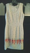MISHO in IVORY 100% Silk Sleeveless Sheath Dress Fully Lined Sz 2 Hot Peppers!