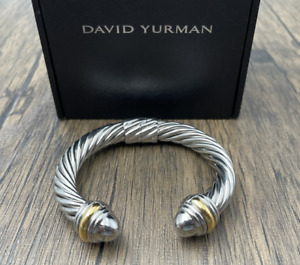 DAVID YURMAN 10MM bracelet cable opens with 925 sterling silver with 14K gold