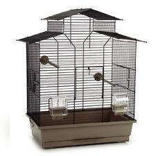 Vogelkäfig Vogelhaus Wellensittich Kanarien Sittich 'Pagode' 45x28x60 cm mokka