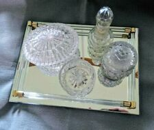Mirrored tray + glass vanity set some Avon jars, ring organizer