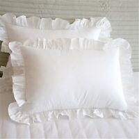 2Pcs White Pillowcase Bedding Cotton Solid Ruffle Pillow Sham Princess Europe Z1