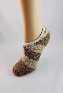 Ladies Footies Brown Beige Terry Cloth Cozy Ankle Socks Stretch