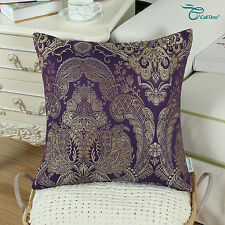 CaliTime Cushion Covers Throw Pillows Shells Jacquard Florals Home Decor 45x45cm