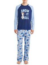 "Frozen II Men 2 Pc Pajama Set Soft Fleece Pants ""Snow it All"" blue Olaf Sz 2XL"