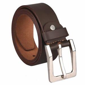 Genuine Real Leather Mens Belt Belts Buckle Sizes Trousers Jeans Loop Brown Tan