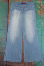 HOT KISS 💋 SIZE 11 (30 x 31)  BLUE Denim WIDE LEG Wide Band JEANS