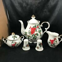 LEFTON China Cardinal Holly Berry Christmas Tea Set Salt Pepper