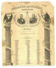1865 Abraham Lincoln Inaugural Ball Invitation RARE ORIGINAL SENT NY REP'S WIFE!