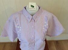 Ladies Grenouille Seersucker Cotton Short Sleeve Shirt Large  - Lilac/flowers