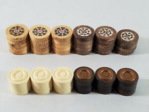 59 Backgammon Replacement Pieces - Brown and White/Cream - 1 Brown Piece Missing