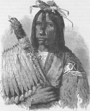 USA. Blackfoot Indian Chief 1890 old antique vintage print picture