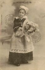 CARTE POSTALE BONNE FETE ENFANT FOLKLORE COSTUME TRADITIONNEL BRETON