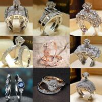 Luxurious White Sapphire 925 Silver Ring Bridal Anniversary Women Jewelry Sz5-11
