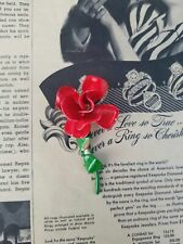 and stem vintage tin brooch Red rose with green leaf