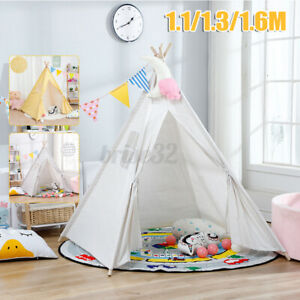 5ft/1.6 m Large Kids Teepee Tent Wooden Playhouse Wigwam Camping White Squa