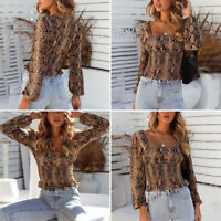 Women's Long Sleeve Animal Print Tops Slim Fit Shirt Casual Party Sexy Blouse