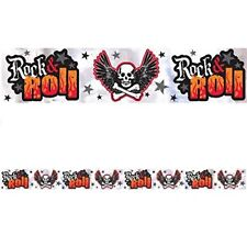 ROCK ON SKULL AND FLAMES METALLIC BANNER ~ Birthday Party Supplies Decorations