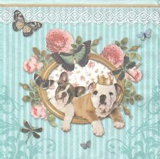 2 Serviettes en papier Chien Bouledogue Paper Napkins Royal Dogs Bulldog