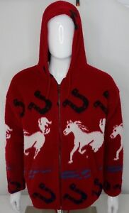Wool Sweater Womens Medium Andes Artesania Horse Hooded Zip Up Made In Ecuador