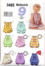 BUTTERICK SEWING PATTERN 3405 BABY SZ NB-M DRESS TOP ROMPER/PLAYSUIT PANTIES HAT